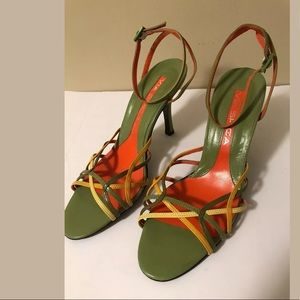 VIA SPIGA Strappy High Heels Colorful Green Yellow